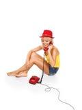 τηλεφωνικό κόκκινο κορι&ta Στοκ Φωτογραφία