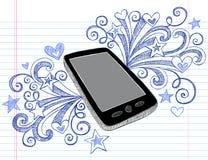 τηλεφωνικό περιγραμματικό διάνυσμα pda κυττάρων doodles Στοκ Φωτογραφία