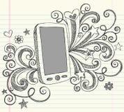 τηλεφωνικό περιγραμματικό διάνυσμα pda κυττάρων doodles Στοκ Φωτογραφίες