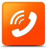 Τηλεφωνικό χτυπώντας εικονίδιο πορτοκαλί τετραγωνικό κουμπί διανυσματική απεικόνιση