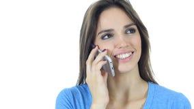 Τηλεφώνημα, γυναίκα που μιλά σε Smartphone, άσπρο υπόβαθρο Στοκ εικόνες με δικαίωμα ελεύθερης χρήσης