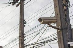 Τηλεόραση κλειστού κυκλώματος στο υπόβαθρο ηλεκτρικής ενέργειας Ασφάλεια camer Στοκ εικόνες με δικαίωμα ελεύθερης χρήσης