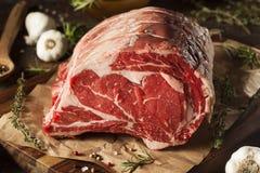 Την ακατέργαστη χλόη που ταΐζεται το πρωταρχικό κρέας πλευρών Στοκ Εικόνες