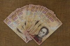 Της Βενεζουέλας μετρητά Bolivares BS 100 χρημάτων νομίσματος στοκ φωτογραφία