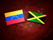 Της Βενεζουέλας σημαία με την τζαμαϊκανή σημαία σε ένα κολόβωμα δέντρων Στοκ εικόνα με δικαίωμα ελεύθερης χρήσης