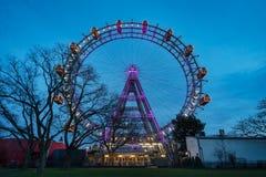 Της Βιέννης ρόδα που φωτίζεται γιγαντιαία Στοκ Εικόνες