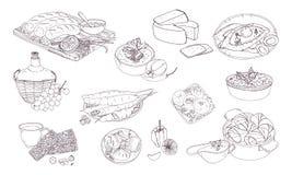 Της Γεωργίας κουζίνα Διαφορετικά πιάτα Συρμένη χέρι γραπτή διανυσματική απεικόνιση διανυσματική απεικόνιση