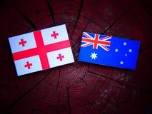 Της Γεωργίας σημαία με την αυστραλιανή σημαία σε ένα κολόβωμα δέντρων που απομονώνεται Στοκ εικόνα με δικαίωμα ελεύθερης χρήσης