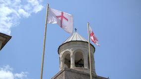 Της Γεωργίας σημαία στον ουρανό απόθεμα βίντεο