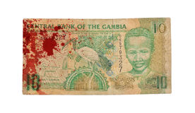 10 της Γκάμπια τραπεζογραμμάτιο DALASI, αιματηρό Στοκ φωτογραφία με δικαίωμα ελεύθερης χρήσης