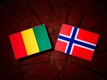 Της Γουινέας σημαία με τη νορβηγική σημαία σε ένα κολόβωμα δέντρων που απομονώνεται στοκ φωτογραφία με δικαίωμα ελεύθερης χρήσης