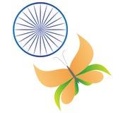 Της Ινδίας άσπρο πράσινο μπλε chakra σαφρανιού σημαιών τυποποιημένο πορτοκαλί απεικόνιση αποθεμάτων