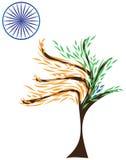 Της Ινδίας σημαιών τυποποιημένο πορτοκαλί μπλε chakra φύλλων σαφρανιού πράσινο απεικόνιση αποθεμάτων