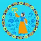 Της Κριμαίας Tatar κορίτσι και tamga Στοκ εικόνα με δικαίωμα ελεύθερης χρήσης