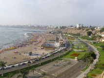 Της Λίμα άποψη κόλπων από τη νότια περιοχή Chorrillos Στοκ Φωτογραφίες