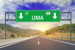 Της Λίμα οδικό σημάδι στην εθνική οδό Στοκ Φωτογραφία