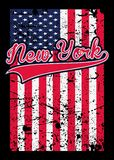 Της Νέας Υόρκης στενοχωρημένο αμερικανική σημαία διάνυσμα γραμμάτων Τ αφισών ζωηρόχρωμο γραφικό διανυσματική απεικόνιση