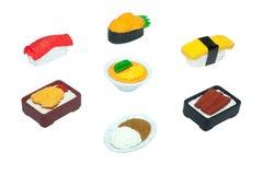 Της Νίκαιας λαστιχένιος-παιχνίδι τροφίμων που απομονώνεται ιαπωνικό στο λευκό διανυσματική απεικόνιση
