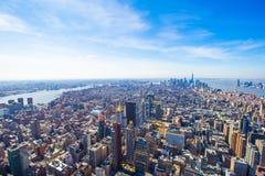 Της περιφέρειας του κέντρου εναέριο πανόραμα του Μανχάταν πόλεων της Νέας Υόρκης Στοκ φωτογραφία με δικαίωμα ελεύθερης χρήσης