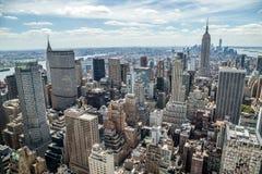 Της περιφέρειας του κέντρου ορίζοντας κτηρίων του Μανχάτταν πόλεων της Νέας Υόρκης Στοκ Εικόνα