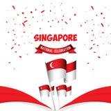 Της Σιγκαπούρης εθνική εορτασμού απεικόνιση σχεδίου προτύπων αφισών διανυσματική ελεύθερη απεικόνιση δικαιώματος