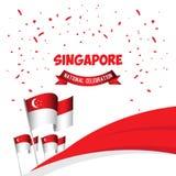 Της Σιγκαπούρης εθνική εορτασμού απεικόνιση σχεδίου προτύπων αφισών διανυσματική απεικόνιση αποθεμάτων