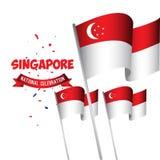 Της Σιγκαπούρης εθνική εορτασμού απεικόνιση σχεδίου προτύπων αφισών διανυσματική διανυσματική απεικόνιση