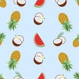 Της Χαβάης άνευ ραφής σχέδιο με τα τροπικά φρούτα και τα λουλούδια επίσης corel σύρετε το διάνυσμα απεικόνισης Εύχρηστος για το σ απεικόνιση αποθεμάτων