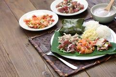 Της Χαβάης παραδοσιακό μεσημεριανό γεύμα πιάτων Στοκ Εικόνες