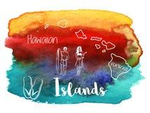 Της Χαβάης, τροπικό γραφικό σχέδιο Watercolor Στοκ Εικόνες
