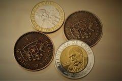 Της Χιλής νομίσματα πέσων στοκ εικόνες