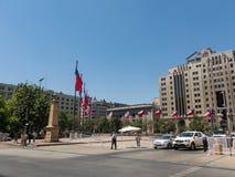 Της Χιλής σημαίες που κυματίζουν στο Λα Constitucià ³ ν Plaza de, στο κέντρο της  στοκ εικόνες