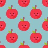 Της Apple υποβάθρου διανυσματικό άνευ ραφής σχέδιο φετών φρούτων απεικόνισης υφαντικό κόκκινο Στοκ Εικόνες