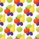 Της Apple υποβάθρου διανυσματικό απεικόνισης υφαντικό πράσινο φυσικό χορτοφάγο υγιές θερινό σκηνικό σχεδίων φρούτων άνευ ραφής Στοκ Φωτογραφίες