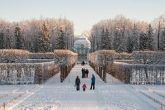 24 της Catherine χλμ κεντρικών οικογενειών προηγούμενος αυτοκρατορικός αριστοκρατίας πάρκων της Πετρούπολης νότος ST selo κατοικι Στοκ εικόνα με δικαίωμα ελεύθερης χρήσης