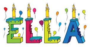 Της Ella θηλυκό κέικ γενεθλίων ονόματος δαγκωμένο ζωηρόχρωμο τρισδιάστατο γράφοντας με τα κεριά και τα μπαλόνια Στοκ φωτογραφίες με δικαίωμα ελεύθερης χρήσης