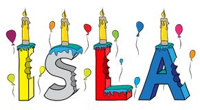 Της Isla θηλυκό κέικ γενεθλίων ονόματος δαγκωμένο ζωηρόχρωμο τρισδιάστατο γράφοντας με τα κεριά και τα μπαλόνια Στοκ φωτογραφία με δικαίωμα ελεύθερης χρήσης