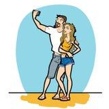 Τηλέφωνο ανδρών και γυναικών ζεύγους selfie Στοκ εικόνα με δικαίωμα ελεύθερης χρήσης