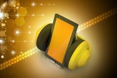 Τηλέφωνο κυττάρων με τα ακουστικά Στοκ εικόνα με δικαίωμα ελεύθερης χρήσης