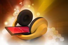 Τηλέφωνο κυττάρων με τα ακουστικά Στοκ φωτογραφία με δικαίωμα ελεύθερης χρήσης