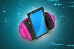 Τηλέφωνο κυττάρων με τα ακουστικά Στοκ φωτογραφίες με δικαίωμα ελεύθερης χρήσης