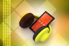 Τηλέφωνο κυττάρων με τα ακουστικά διανυσματική απεικόνιση