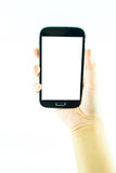 Τηλέφωνο κυττάρων με την οθόνη επαφής στο θηλυκό χέρι στο άσπρο υπόβαθρο Στοκ Εικόνα