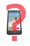 Τηλέφωνο με την εικόνα του κοριτσιού και των κουμπιών της απάντησης, σε ένα άσπρο υπόβαθρο Στοκ Φωτογραφίες