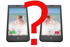 Τηλέφωνο με την εικόνα του κοριτσιού και των κουμπιών της απάντησης, σε ένα άσπρο υπόβαθρο Στοκ Εικόνες