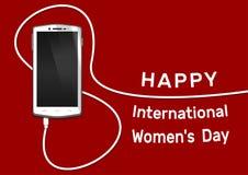 Τηλέφωνο με τη γραμμή οκτώ καλώδιο Smartphone στις 8 Μαρτίου περιλήψεων Κάρτα ημέρας των ευτυχών διεθνών γυναικών Στοκ εικόνα με δικαίωμα ελεύθερης χρήσης