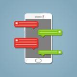 Τηλέφωνο με το μήνυμα στο άσπρο ύφος απεικόνιση αποθεμάτων
