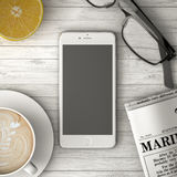 Τηλέφωνο στην τρισδιάστατη απεικόνιση πινάκων, καφέ και εφημερίδων Στοκ εικόνα με δικαίωμα ελεύθερης χρήσης