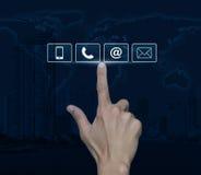 Τηλέφωνο συμπίεσης χεριών, κινητά κουμπιά τηλεφώνων, και ηλεκτρονικού ταχυδρομείου Στοκ Φωτογραφία
