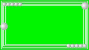 Τηλεοπτικές ασημένιες μεταλλικές λουρίδες πλαισίων με τις μικρές κινούμενες σφαίρες στην πράσινη μεταλλίνη, χαμηλότερα τρίτα που  ελεύθερη απεικόνιση δικαιώματος
